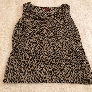 212 Collection leopard print sleeveless blouse M
